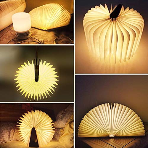 Desk LED Wooden Book Light Folding Night Light Gift Book USB Large Capacity Rechargeable Table Lamptable lamp Novelty Decoration Birthday Gift (Miedum) 4
