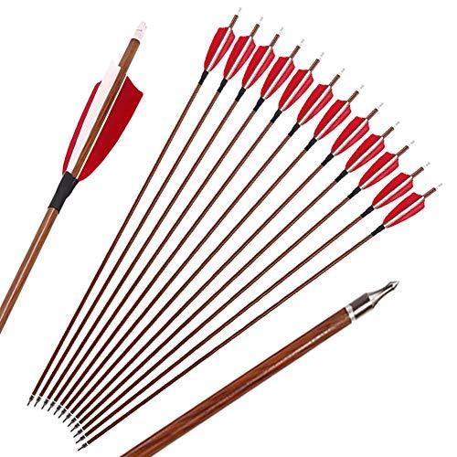 Jagd Pfeile, 32 Zoll Bogenpfeile Carbon Pfeile für Bogenschießen mit Rot und Weiß Naturfeder, Jagdpfeile für Bogen, Recurvebogen, Langbogen und Traditionellen Bogen (12er Set) (Spine 400)