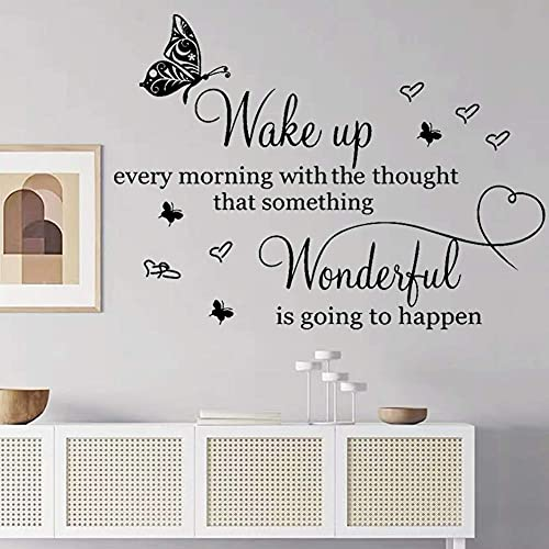 Large Wall Sticker for Bedroom Living Room Quotes Inspirational Decals Motivational Wall Quote Sayings Wake up Every Morning with The Thought That Something Wonderful is Going to Happen Home Décor.