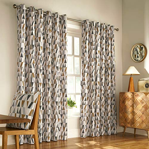 Furn Reno Ringtop Eyelet Gordijnen (Paar) -Geometrische tegel Design Klaar Made-50 50% Polyester