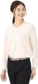 (ヨウフクノアオヤマ) 洋服の青山 (アンカーウーマンパーソンズ) ANCHOR WOMAN PERSON'S オールシーズン用 【長袖】【タック入り】Vネックソフトブラウス APBL18150-10