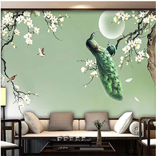 Wuyii fotobehang Chinese stijl handgeschilderd magnolia groen pauw bloemen vogels fotobehang woonkamer TV 3D Fresko 400x280cm