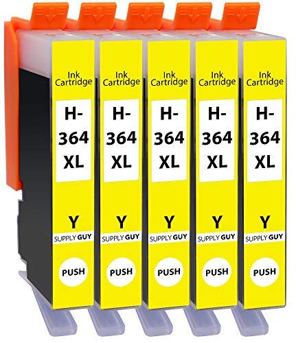 Supply Guy 5 Cartuchos de impresión compatibles con HP 364 XL HP364 CB325EE (Amarillo)