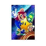 LIULANG Póster de Super Mario Galaxy sobre lienzo y póster de pared con impresión artística moderna para habitación familiar, 60 x 90 cm