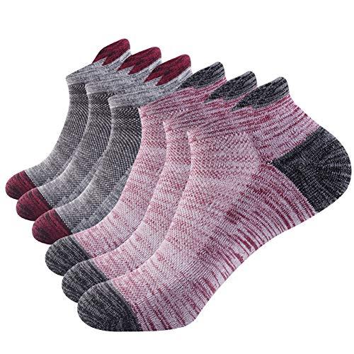 NAFFIC Herren athletischen socken, wandern der socken, turnschuhsocken, die im freien kletternde Socken, atmungsaktive, feuchtigkeit sport-tiefschnitt-Socken 6 Paare (Rot-schwarz)