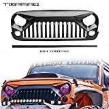 Topfire Upgraded Front Grill with Strip, Clips and Rivets for Jeep Wrangler Rubicon Sahara Sport JK/JKU 2007-2018 (matte black)