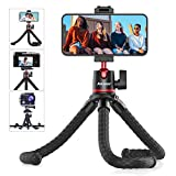Phone Tripod, Anozer Flexible Tripod with Universal Clip&Cold Shoe Mount,Adjustable Mini Tripod Stand Holder Compatible with iPhone/Android/Camera/GoPro, iPhone Tripod for Live Streaming YouTube