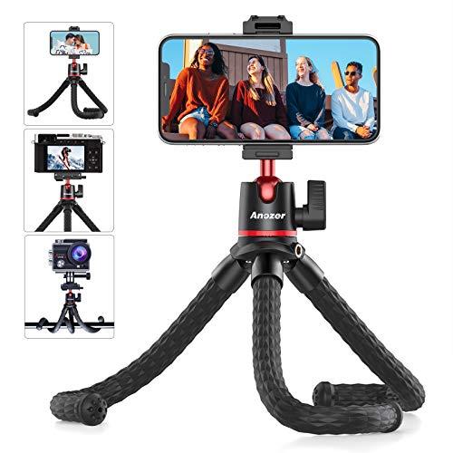 Anozer Supporto Telefono Treppiede,Porta Fotocamera/Smartphone Flessibile da Tavolo con Clip Universale,360° Regolabile Compatibile con iPhone 12 Pro Max/12 Mini,Android,GoPro,Fotocamera Sportiva SLR