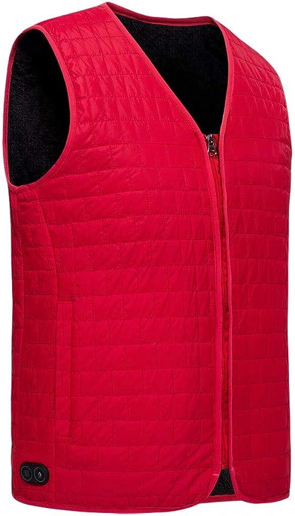 FIRERO Men Outdoor Winter Warm Vest Solid Color Sleeveless Zipper Waterproof Vest Coat
