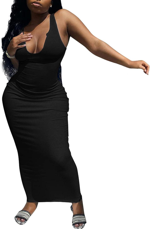 Women's Casual Sleeveless Tank Dress Ribbed Deep V Neck Bodycon Maxi Party Dresses
