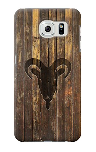 R2182 Goat 2015 Year Wood Craving Graphic Printed Case Cover For Samsung Galaxy S6 Edge Plus