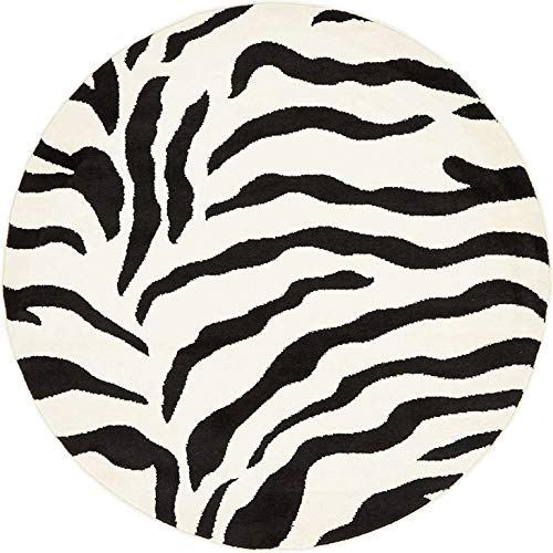 Unique Loom Wildlife Collection Zebra Animal Print Ivory Round Rug (4' 0 x 4' 0)