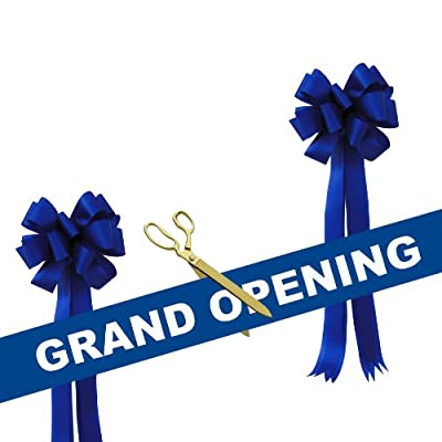 "Grand Opening Kit - 15"" Gold Plated Ceremonial Ribbon Cutting Scissors with 5 Yards of 6"" Grand Opening Ribbon White Letters and 2 Bows"