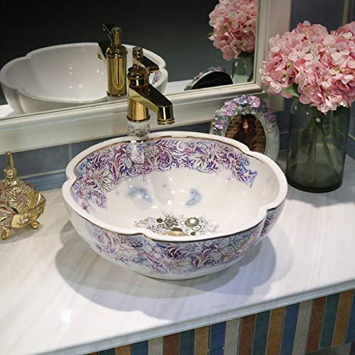 Jgophu Lavabo de cerámica para baño con perchero para lavabo (porcelana), diseño de flores, color verde