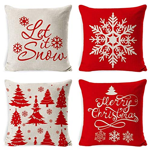 ASDQW Christmas Cushion Covers,4 Pcs Soft Square Pillow Case With Snowflake Christmas Tree Printed Red White Cushion Covers For Garden Bedroom Christmas Home Decorative,45X45Cm