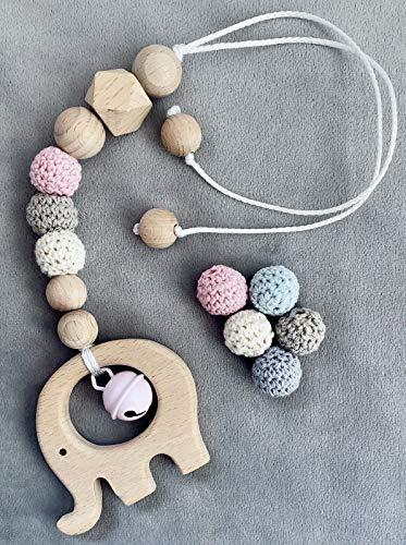 Kinderwagenkette Babyschale Anhänger Maxi Cosi Mit Namen ★ Elefant Hexagon Häckelperle Rosa In Blau auch möglich