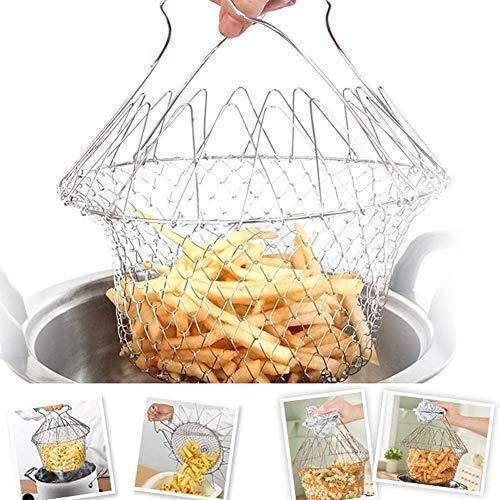 Cesta Freír Plegable de Acero Inoxidable - Coladores Cocina, Plegable Colador para Patatas Fritas, Camarones y Aros de Cebolla, Freír, cocinar, Colador, Herramientas Cocina