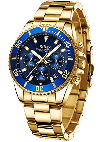 Relojes para hombre cronógrafo de acero inoxidable resistente al agua, fecha, analógico, cuarzo, moda de negocios, relojes de pulsera para hombres
