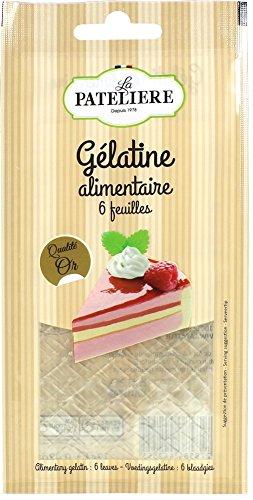 LA PATELIERE Gélatine Alimentaire Sachet de 6 Feuilles 12 g - Lot de 5