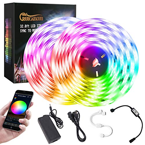 Bluetooth Music LED Lights Strip, 32.8ft Smart-phone LED Strip Lights for Bedroom, Outdoor Led Strip Lights Waterproof SMD5050 300LEDs Strip Lights with 12V Power Supply for Indoor Decor Party and Bar