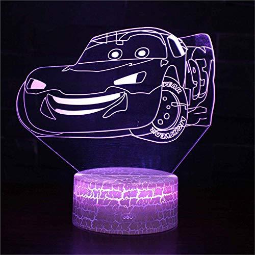 Luz nocturna 3D de coches Rayo McQueen Lava Lámparas para dormitorio 16 colores botón táctil decoración óptica mesa luces de noche iluminación lámpara de escritorio