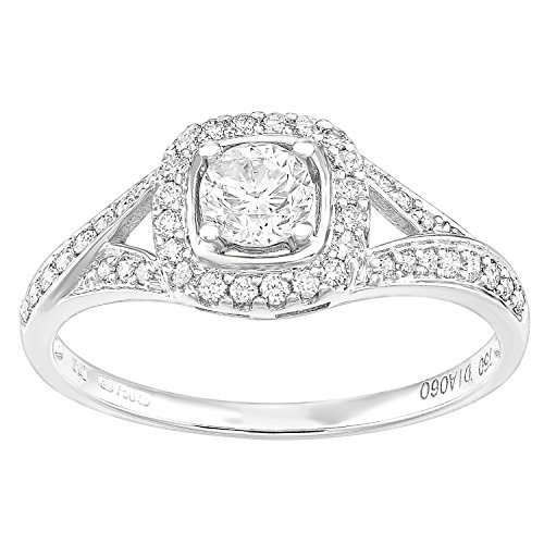 Naava 18ct Wit Goud Vierkant Halo 0.60ct Diamant Crossover Schouder Engagement Ring