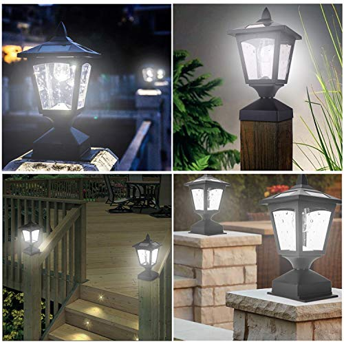 Solar Post Lights Outdoor, Solar Lamp Post Cap Lights for Wood Fence Posts Pathway, Deck, Pack of 2