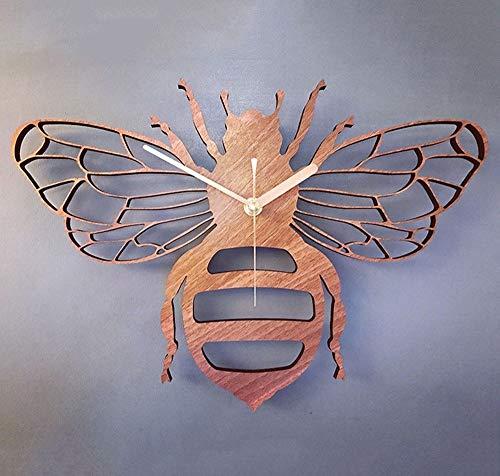 YH Mode Kreative Bambus Holz Bee Dekoration Wanduhr Garten Natur Bee Wall Wall Tischuhr Quarz-Taktgeber Wohnzimmer Schlafzimmer 40 * 40cm