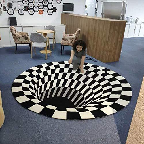 Teppich, 3D Bereich Teppichbodenmatte, Samt gedruckt Teppich robuste Teppich Nicht rutschfeste Bodenmatte 3D visuelle Illusion Shaggy Teppich Dekorationstil (60 * 60cm)