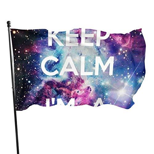 DDOBY Keep Calm Im A Unicorn Fly Breeze Drapeau en Polyester de 3 x 5 Pieds, Drapeaux de Plage durables résistants à la décoloration avec en-tête et œillets en Laiton, faciles à Utiliser