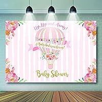背景布 出生前のパーティーの装飾のための熱気球女の子のための冒険パーティー用品-5x3ft