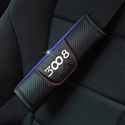 ZXCV 2 Fundas Coche Almohadillas Cinturón Fibra Carbono, para Peugeot 3008 Hombro Correa Protector Seguridad con Logo Auto Interior Accesorios