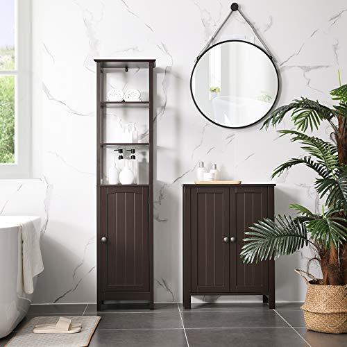VASAGLE Floor Cabinet, Multifunctional Bathroom Storage Cabinet with 3 Tier Shelf, Free Standing Linen Tower, Wooden Cupboard, Brown UBBC63BR
