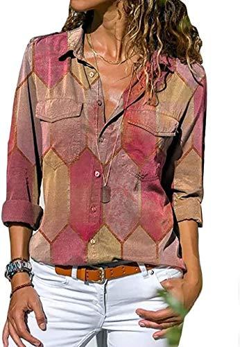 Onsoyours Sexy Oberteil Damen Elegant Langarmshirt Bluse Damen Chiffon Herbst Choker T-Shirt V-Ausschnitt Tops X Rot XS