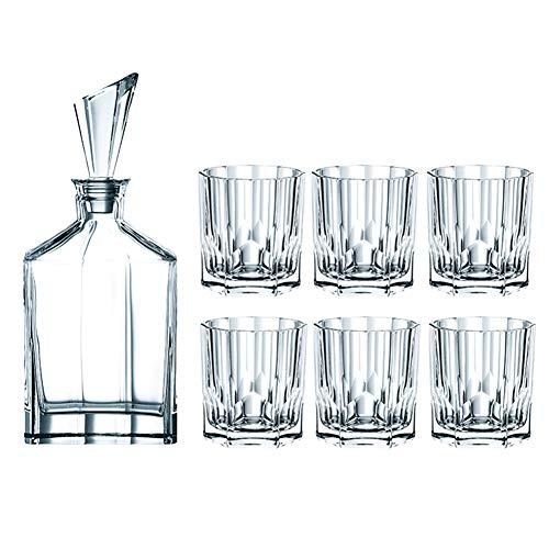 OOFAY Whiskykaraffe Decanter,Whiskyflasche,Whisky-Becher Und Karaffe,Eleganten Schliffoptik Design,Whisky Karaffe Set,Schöne Geschenk Box, 7-Teiliges, Hochwertig