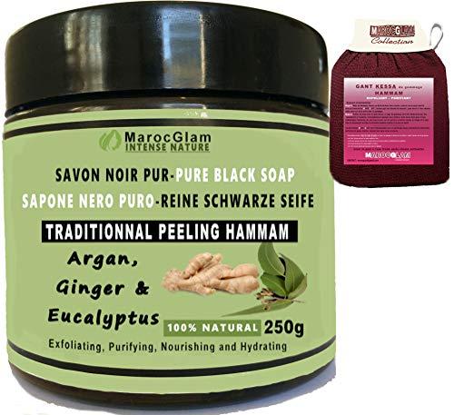 MAROC GLAM Jabón negro exfoliante de 250 g de jengibre y eucalipto con aceite de argán 100 % natural + guante de exfoliación kessa de calidad – Hamam marroquí exfoliante – Purificante