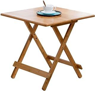HX Table Simple Table Pliante Petit Appartement Table en Bambou Table À Manger Maison Portable Table Ronde Étude Loisirs T...