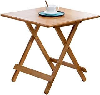 HX Table Simple Table Pliante Petit Appartement Table en Bambou Table À Manger Maison Portable Table Ronde Étude Loisirs T...