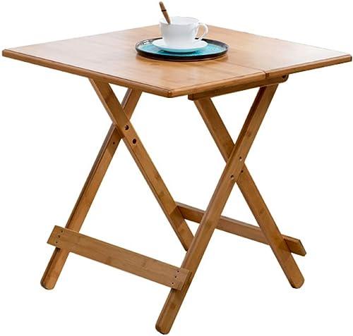 Table pliante ZB Table Simple Petit Appartement Table en Bambou Table à Manger Maison Portable Table Ronde étude Loisirs Table A+ (Taille   57.7)