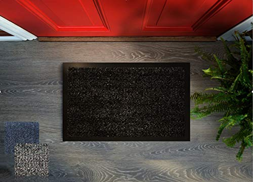 Floorcover Premium Fußmatte rutschfest - Türvorleger & Schmutzabstreifer in Grautönen bleibt der Schmutz draußen und das Zuhause sauber 60 x 80 cm (Anthrazit)