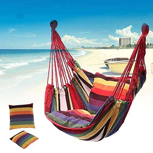 Hanging Hammock Chair with 2 Cushions, Garden Portable Striped Swing Chair Thicken Hanging Tree Seat for Indoor, Outdoor, Home, Bedroom, Porch, Patio, Yard, Backyard (1 PC, Rainbow Colors)
