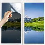 Pellicola Oscurante per Vetri Pellicola a Specchio Unidirezionale Privacy Diurna Statica Non Adesiva Decorativa Controllo del Calore Tinta per Finestre anti UV per Casa e Ufficio Nero-Argento