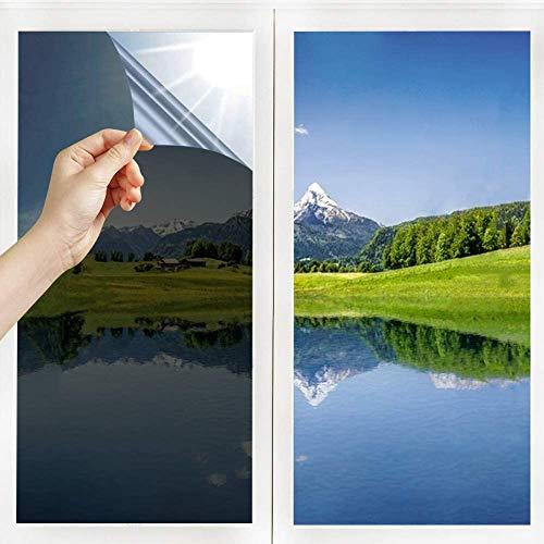 Film Miroir Fenêtre sans Tain Anti UV Anti Chaleur Anti-Regard Contrôle de la Température Protection de la Vie Privée Film Adhésif Réfléchissant pour Fenêtre Maison Bureau (Argent-Noir, 45_x_400_cm)