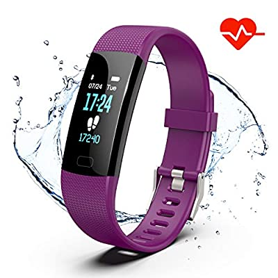 Fitness Tracker, Color Screen Activity Tracker Watch with Heart Rate Monitor, Pedometer IP67 Waterproof Sleep Monitor Step Counter for Android & iPhone (Purple)