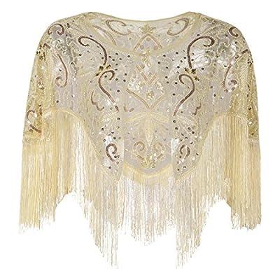 PrettyGuide Women's 1920s Shawl Vintage Sequin Fringed Bolero Flapper Evening Cape