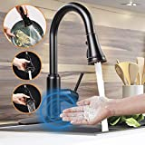 Touchless Kitchen Faucet,Soosi Motion Sensor Single Handle One/3 Hole Automatic Kitchen Faucet 3-Function Kitchen Faucets with Pull Down Sprayer Spot Free Oil Rubber Bronze Stainless Steel Lead Free