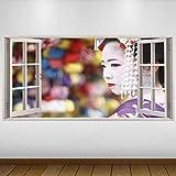 LagunaProject Extra Grande Blanco Chica asiática Japón Cultura Geisha Vinilo 3D...