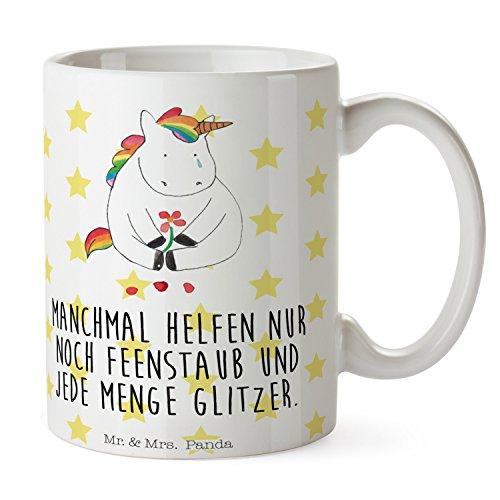 Mr. & Mrs. Panda Kaffeetasse, Kaffeebecher, Tasse Einhorn Traurig mit Spruch - Farbe Weiß