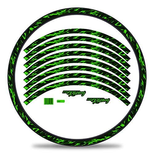 Finest Folia Juego completo de 16 pegatinas para llantas de bicicleta, diseño Future, juego completo para 27 y 29 pulgadas, para bicicleta de carretera, mountain bike RX027 (verde neón, mate)