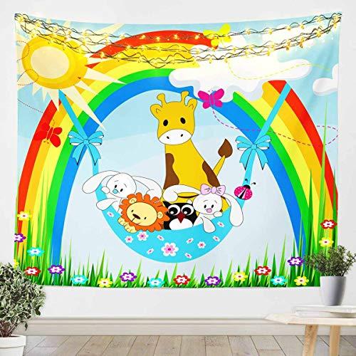 Manta de pared con diseño de jirafa de dibujos animados para colgar en la pared de animales del zoológico para niños y niñas, manta de microfibra para ropa de cama tamaño grande de 152 x 201